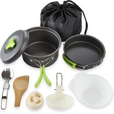 Camping Cookware Mess Kit Backpacking Gear & Hiking Outdoors Bug Out Bag Cooking Equipment 10 Piece Cookset | Lightweight, Compact, & Durable Pot Pan Bowls – Free Folding Spork, Nylon Bag, & Ebook