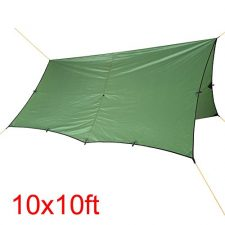 WINGONEER Waterproof Lightweight RipStop Tarp for Camping Hiking 10×10ft Compact Versatile Durable Backpacking Tarpaulin – Green